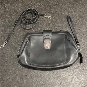 Black leather wristlet or crossbody w/ strap